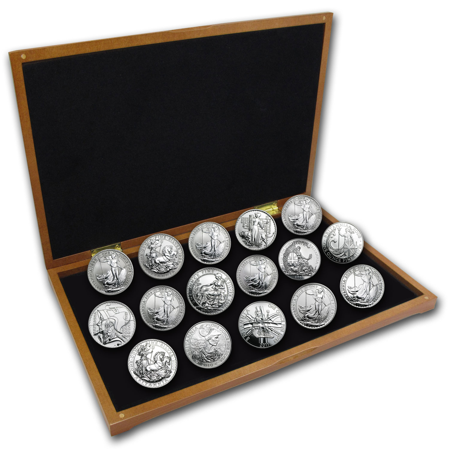 1998-2014 17-Coin Silver Britannia Set BU (Wood Presentation Box)